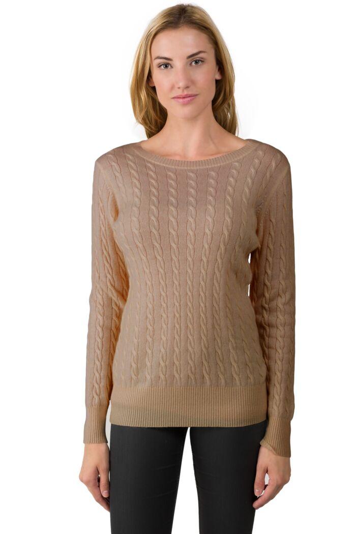 Camel Cashmere Cable-knit Crewneck Sweater