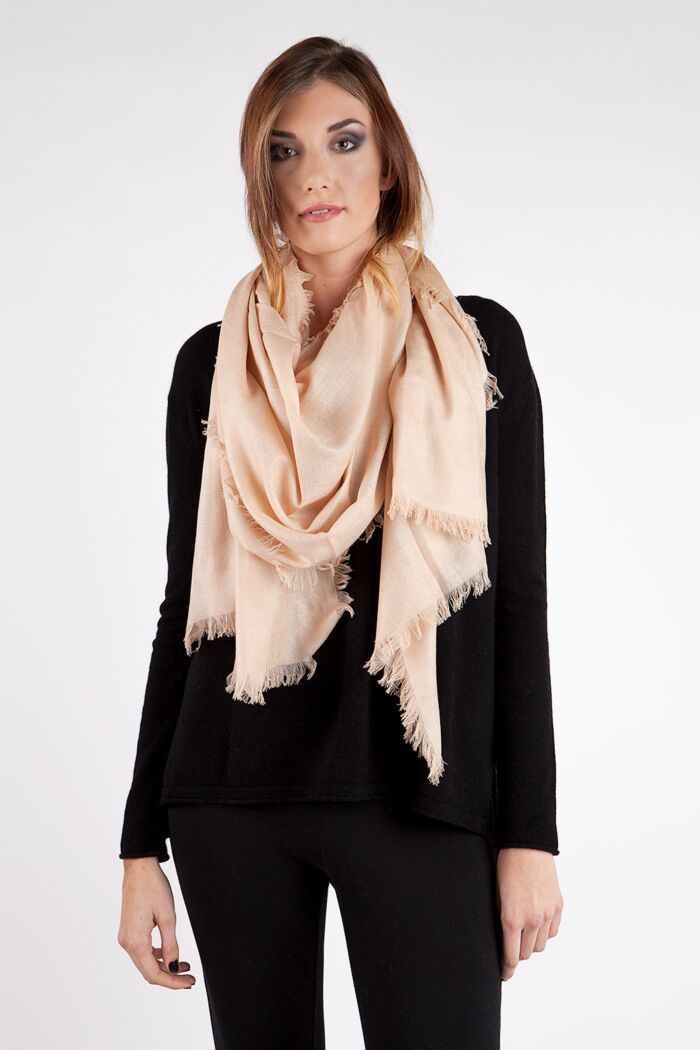 Camel Tissue Weight Silk Cashmere Shawl Wrap