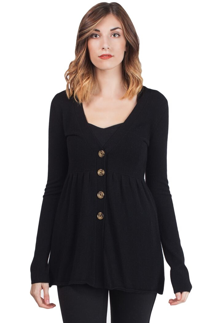 Black Cashmere Deep V Neck Empire Long Sleeve Tunic Cashmere Cardigan Front View