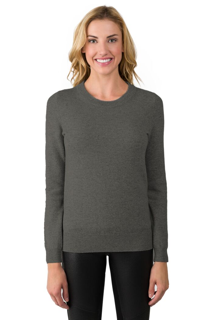 Charcoal Cashmere Crewneck Sweater Front View