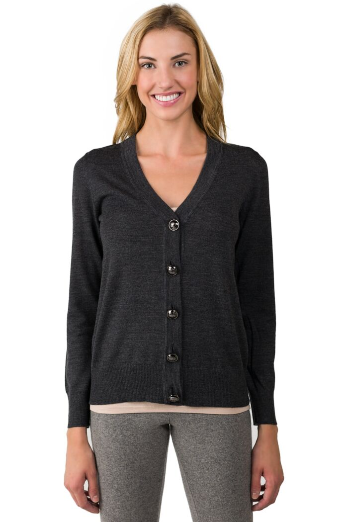 Charcoal Merino Wool Long Sleeve V Neck Cardigan Sweater Front View