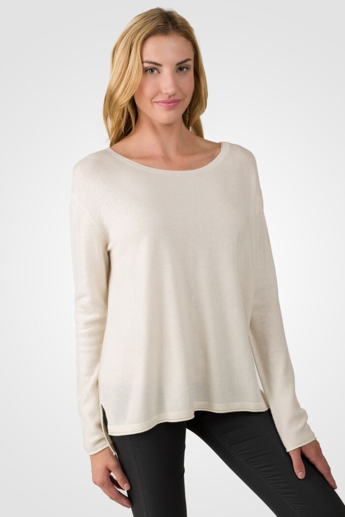 Cream Cashmere High Low Sweater right side view