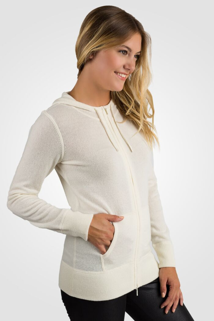 Cream Cashmere Long Sleeve Zip Hoodie Cardigan Sweater Right View