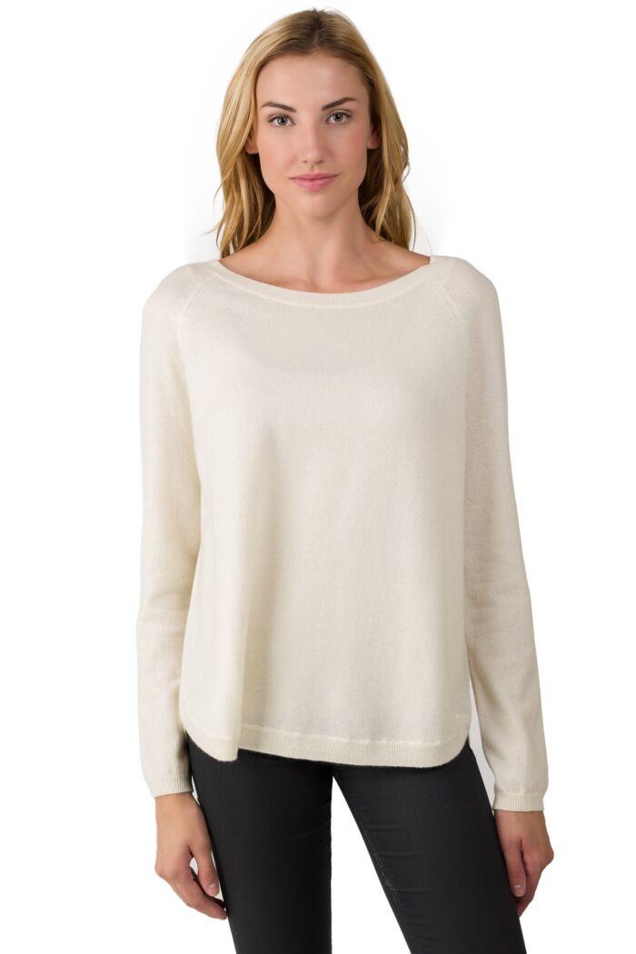 Cream Cashmere Boatneck Raglan Sweater front view