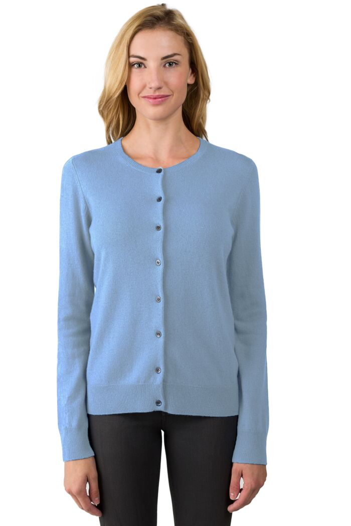 Crystal Blue Cashmere Button Front Cardigan Sweater
