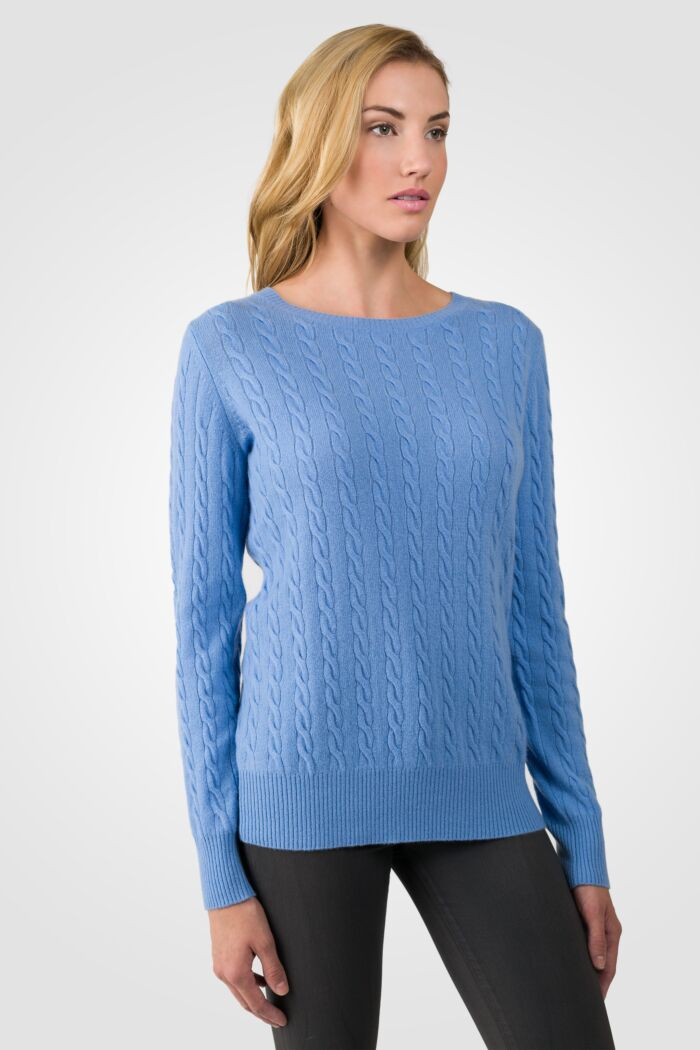 Crystal Blue Cashmere Cable-knit Crewneck Sweater right side view