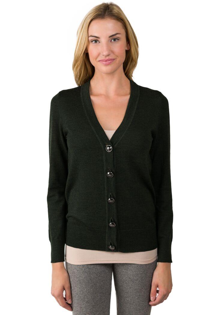 DK Green Merino Wool Long Sleeve V Neck Cardigan Sweater Front View