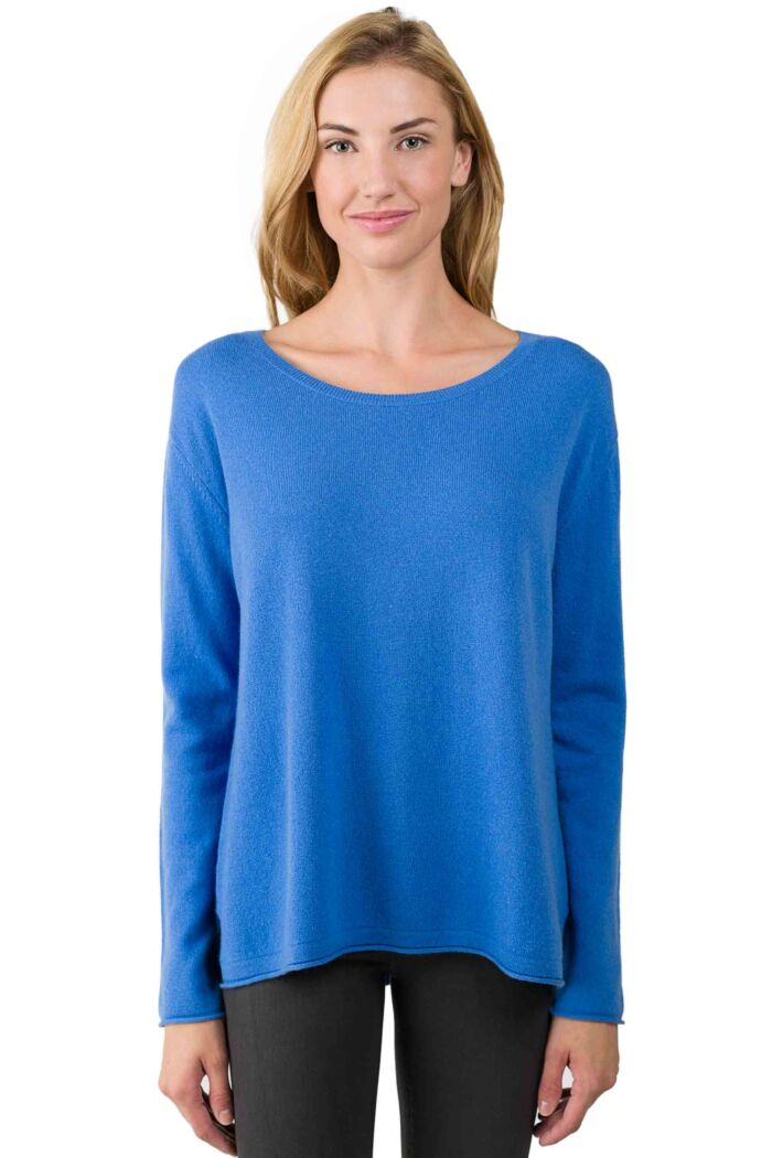 Flag Blue Cashmere High Low Sweater front view