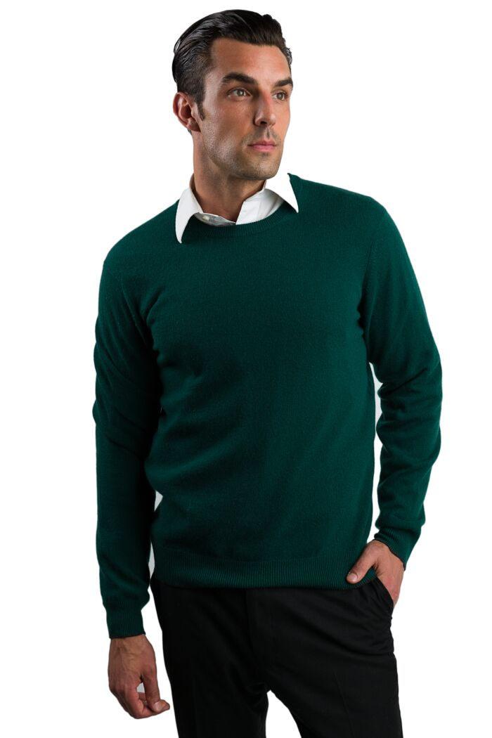 Green Men's 100% Cashmere Long Sleeve Pullover Crewneck Sweater Front View