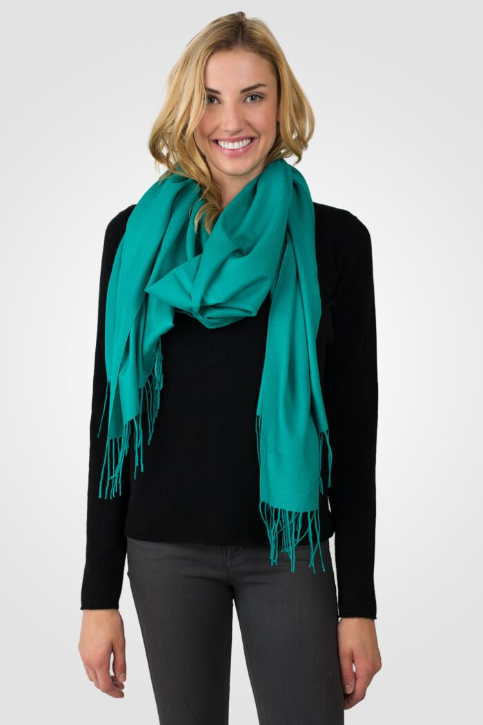Green Tissue Weight Wool Cashmere Wrap front view
