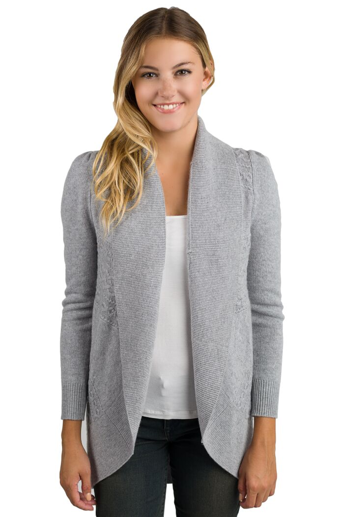 Grey Cashmere Celine Cardigan Sweater Front View