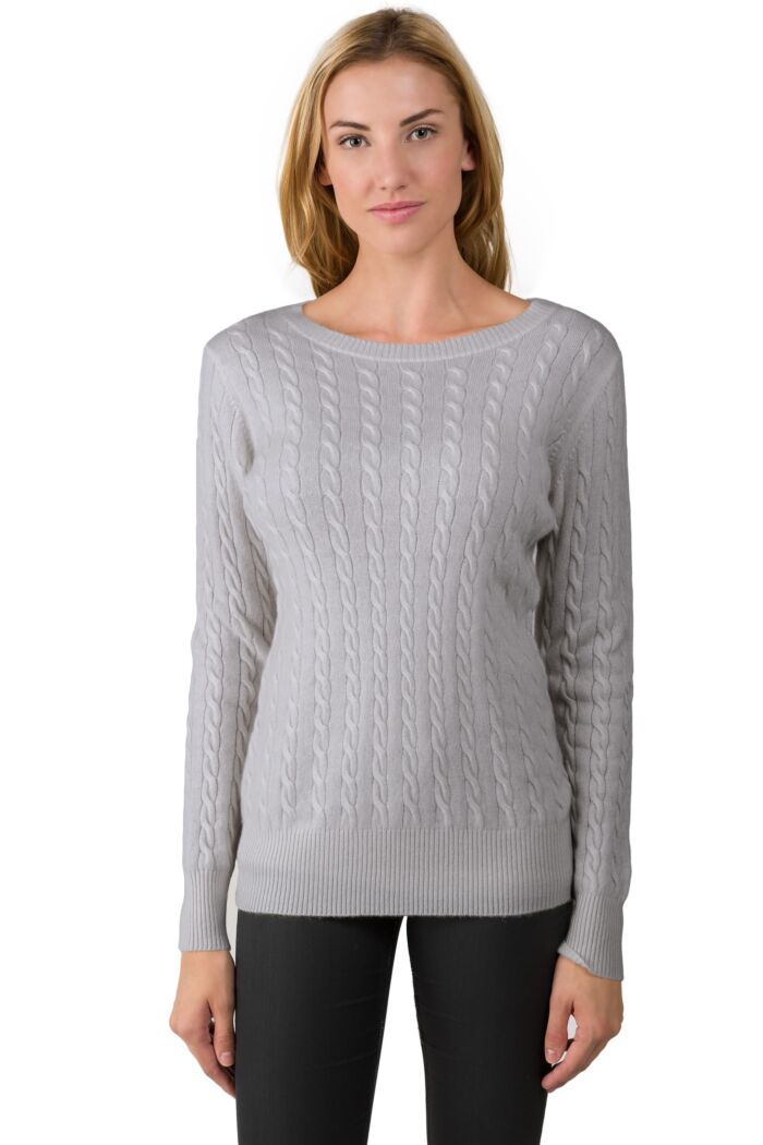 Grey Cashmere Cable-knit Crewneck Sweater