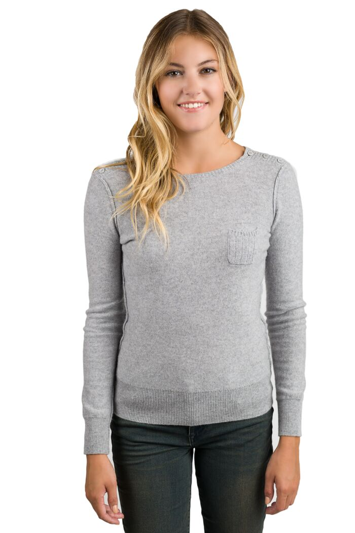 Grey Chloe Cashmere Crewneck Sweater front view