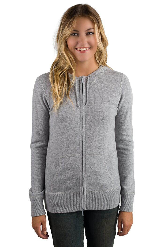 Grey Cashmere Long Sleeve Zip Hoodie Cardigan Sweater Front View