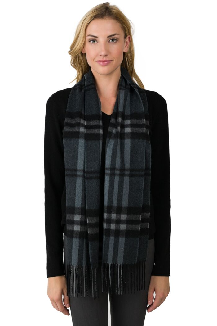 Grey Plaid Cashmere Scarf front view