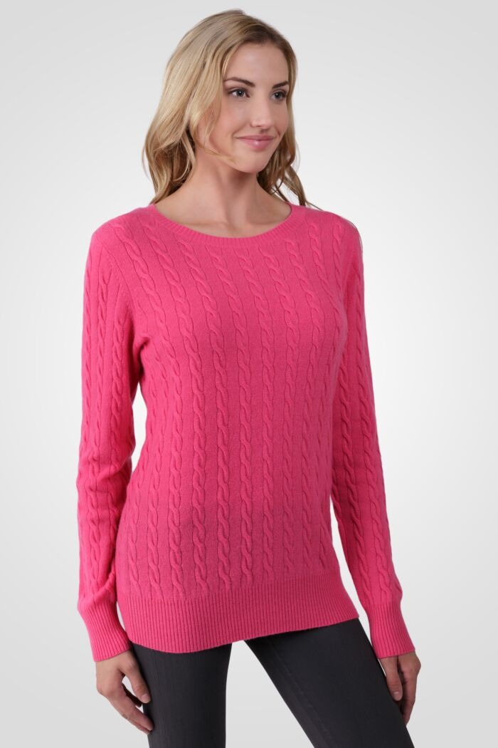 Hot Pink Cashmere Cable-knit Crewneck Sweater right side view