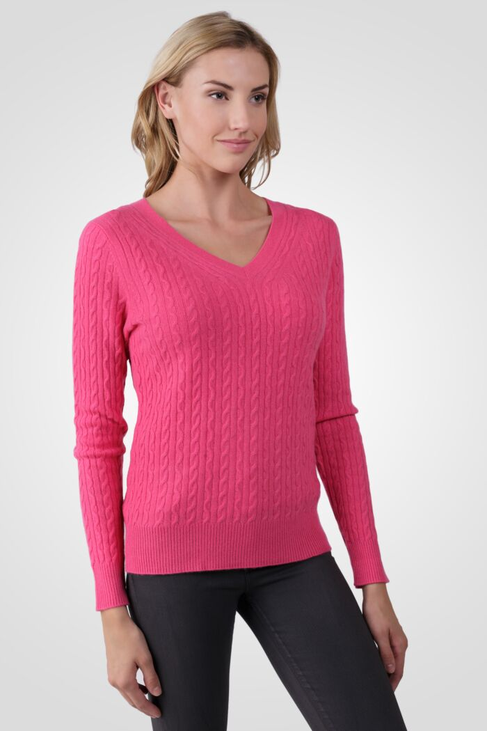 Hot Pink Cashmere Cable-knit V-neck Sweater right side view