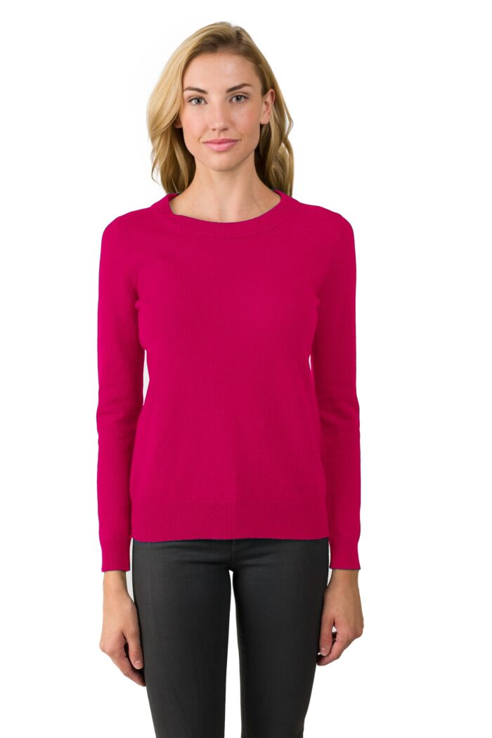 Hot Pink Cashmere Crewneck Sweater Front View