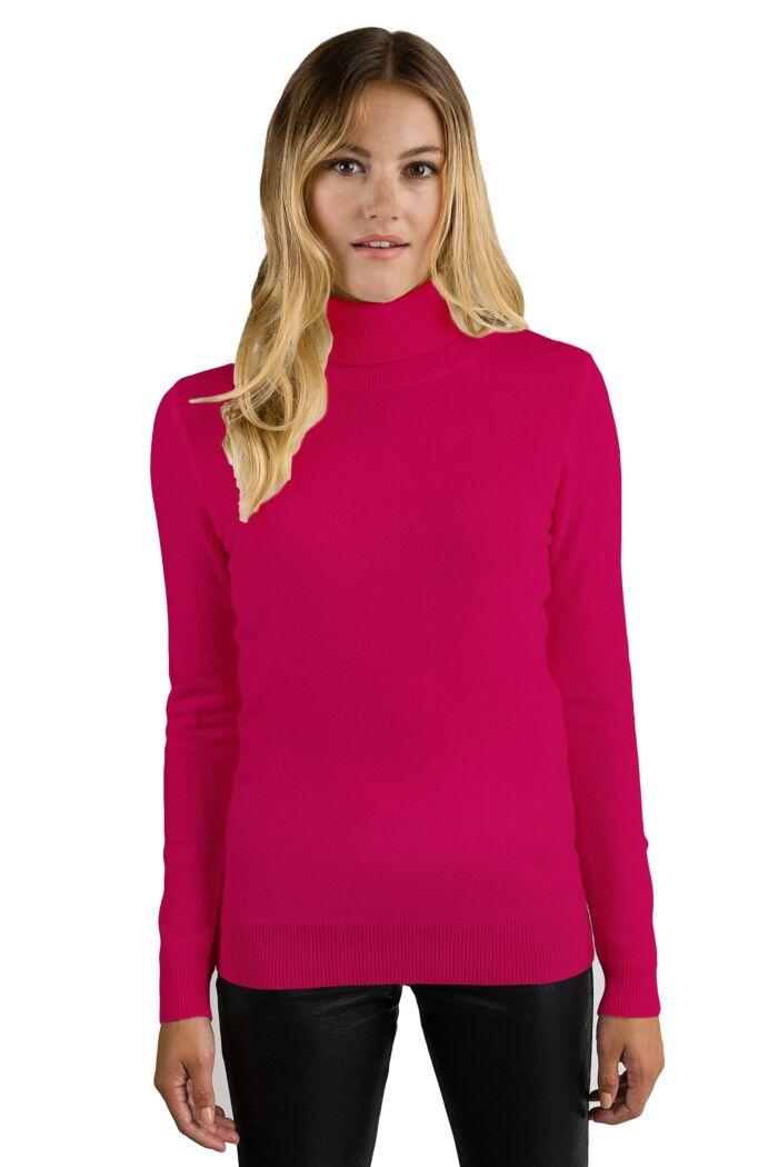 Hot Pink Cashmere Long Sleeve Turtleneck Sweater