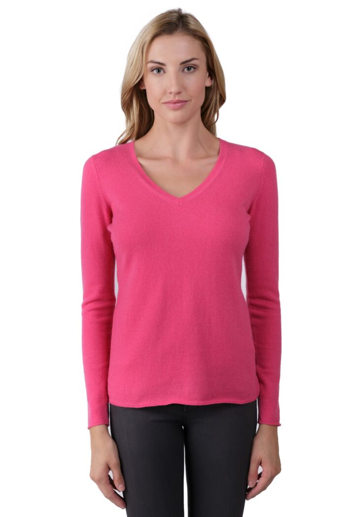 JENNIE LIU Women's 100% Pure Cashmere Long Sleeve Pullover V Neck Sweater(XL, Hot Pink)