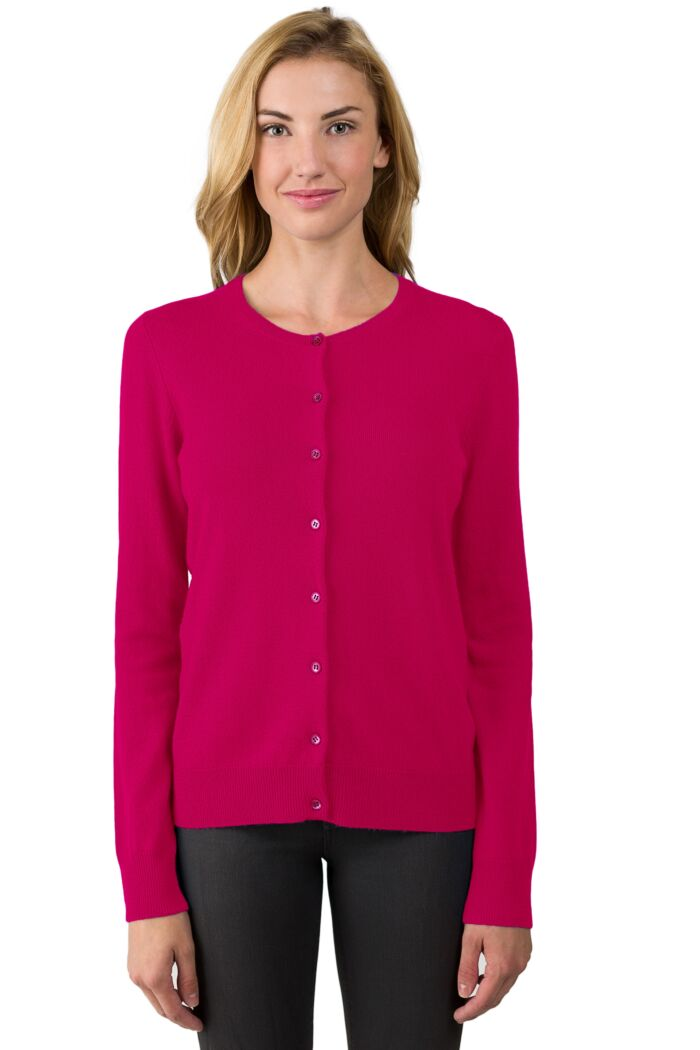Hot Pink Cashmere Button Front Cardigan Sweater