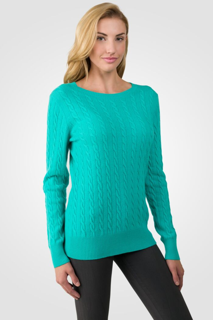 Jade Cashmere Cable-knit Crewneck Sweater right side view