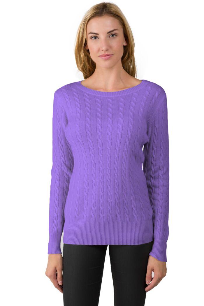 Lavender Cashmere Cable-knit Crewneck Sweater