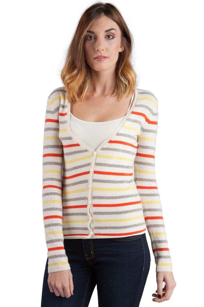 Lemon Stripe Cashmere Long Sleeve V Neck Cardigan Front View
