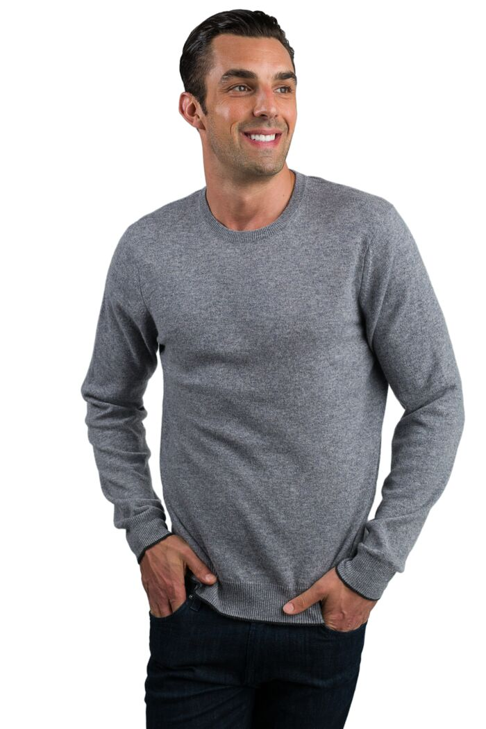 Lt Grey Men's 100% Cashmere Long Sleeve Pullover Crewneck Sweater Front View