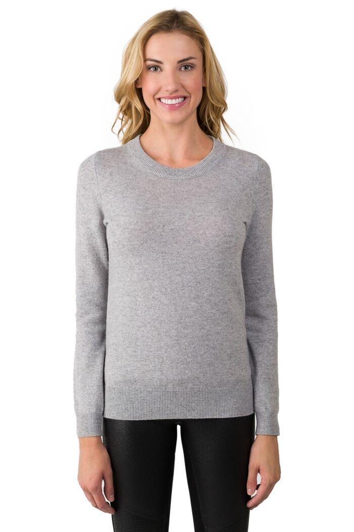 Lt Grey Cashmere Crewneck Sweater front view