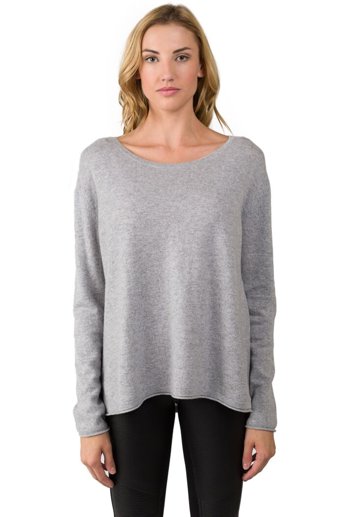Lt Heather Grey Cashmere High Low Sweater front view