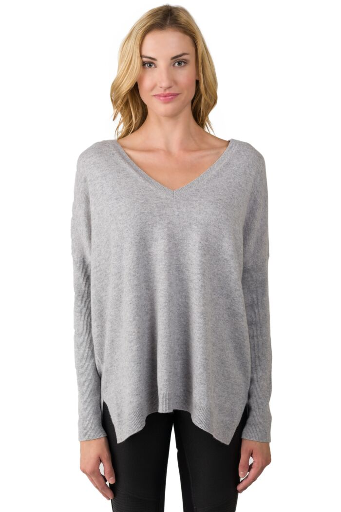 Lt Heather Grey Cashmere Oversized Double V Dolman Sweater front view
