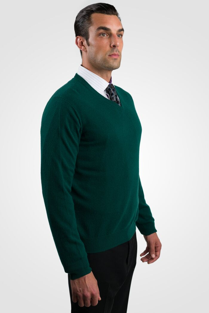 Green Men's 100% Cashmere Long Sleeve Pullover V Neck Sweater Right View