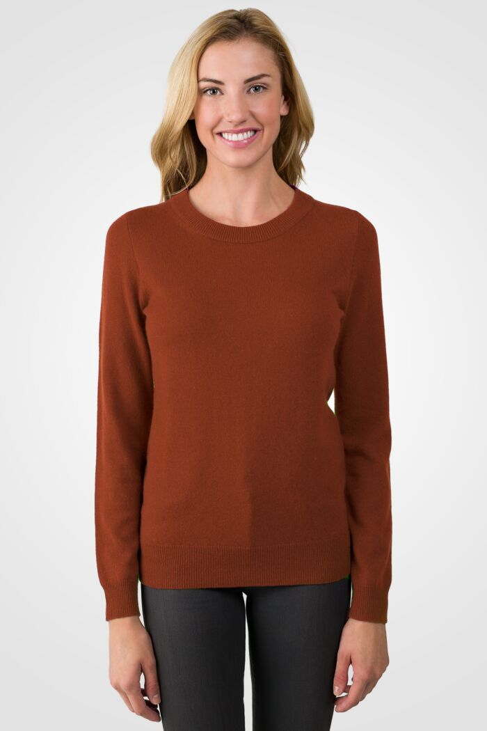 Marsala Cashmere Crewneck Sweater front view