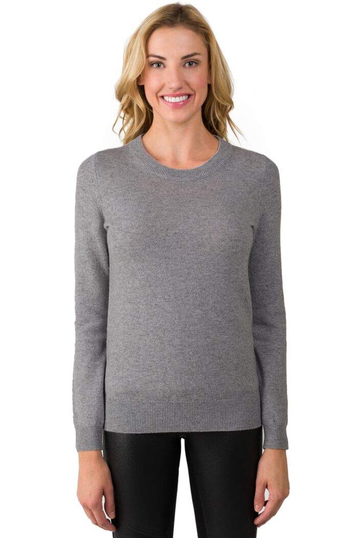 MidGrey Cashmere Crewneck Sweater front view