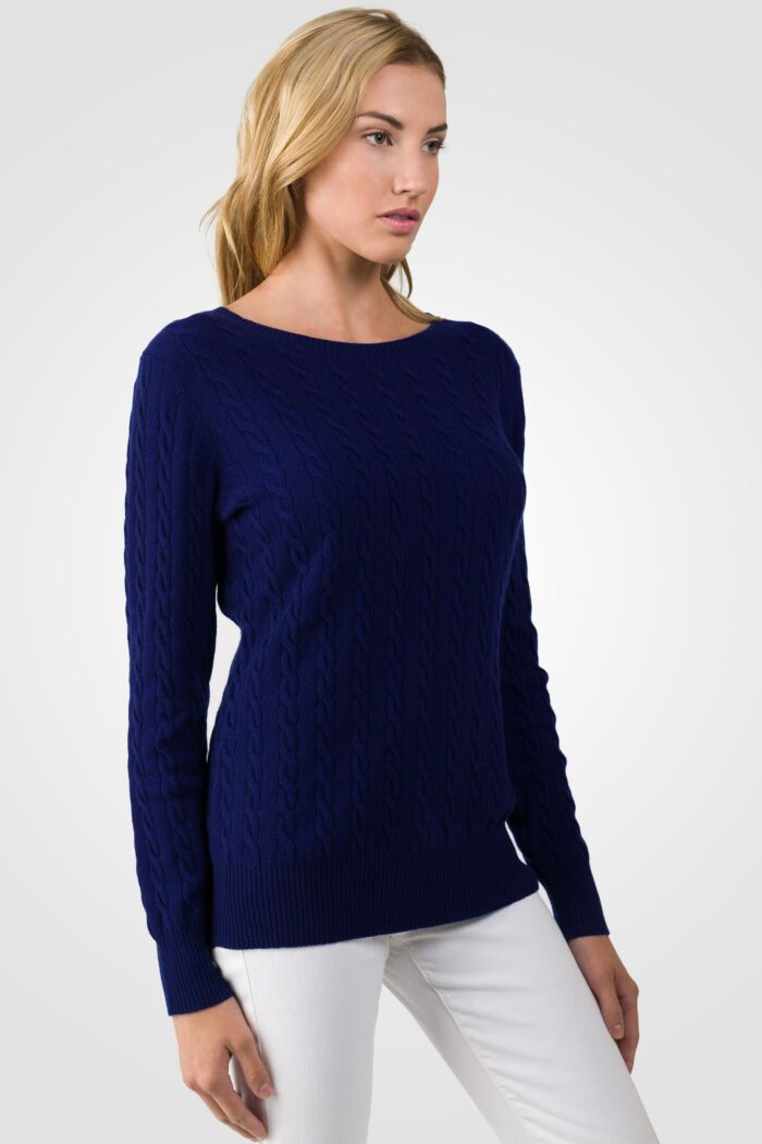 Midnight Blue Cashmere Cable-knit Crewneck Sweater right side view