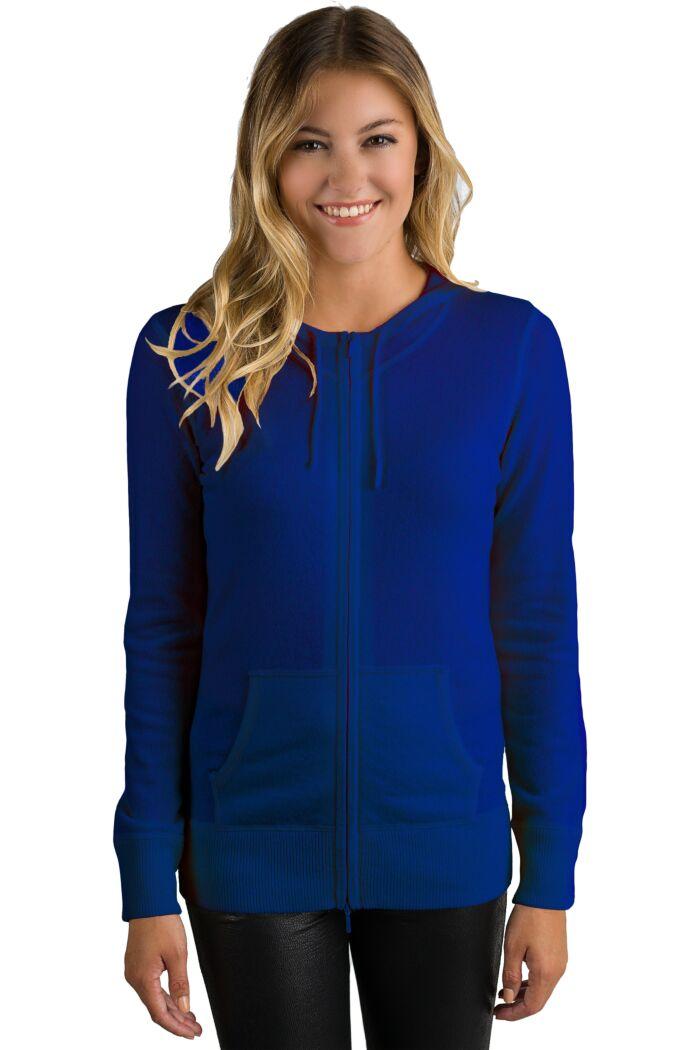 Midnight Cashmere Long Sleeve Zip Hoodie Cardigan Sweater