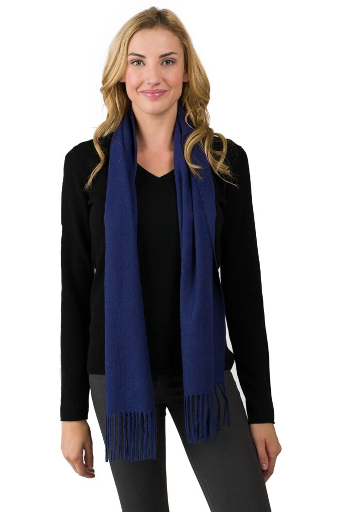Navy Cashmere Scarf front view