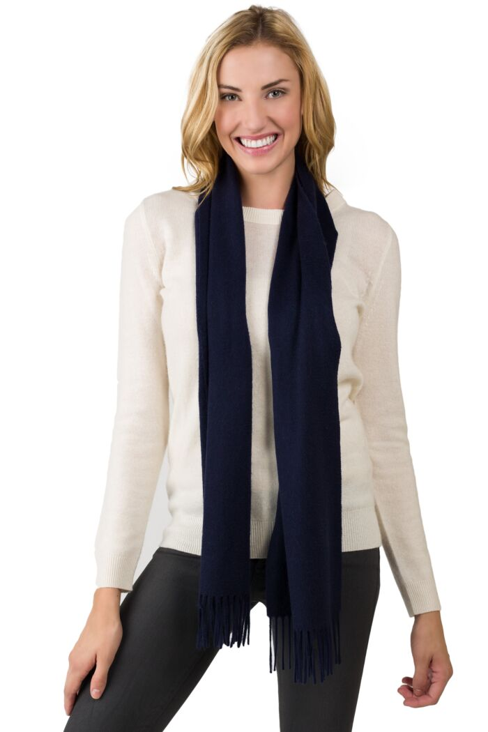 Navy Watermark Cashmere Blend Woven Scarf front view