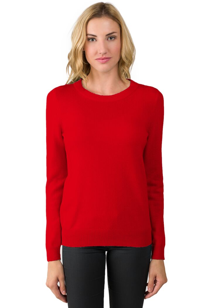 NeonRed Cashmere Crewneck Sweater Front View