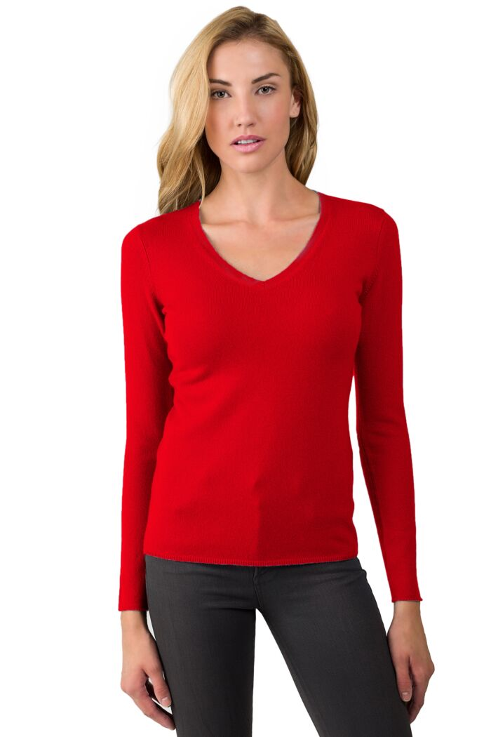 JENNIE LIU Women's 100% Pure Cashmere Long Sleeve Pullover V Neck Sweater(S, Neon Red)