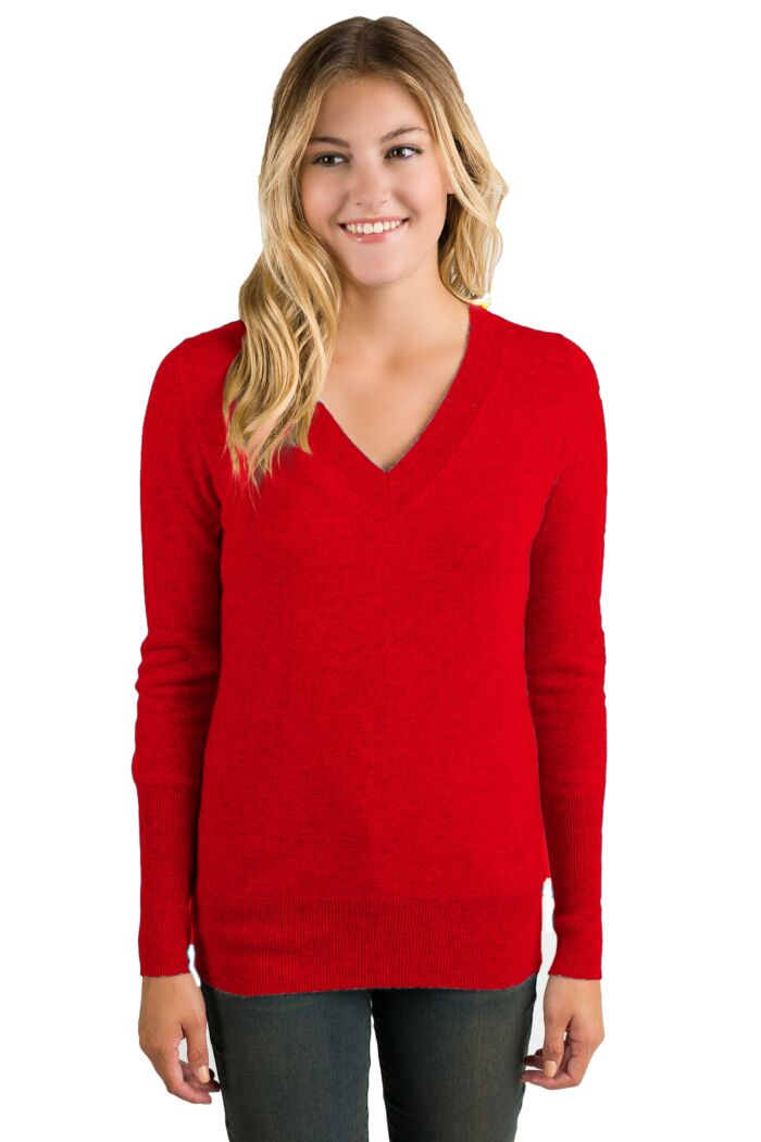 NeonRed Cashmere Long Sleeve Ava V Neck Sweater Front View