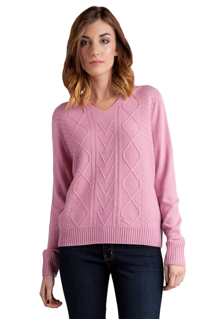 Pink 4-ply Cashmere Cable-Knit V-Nk Sweater Front View