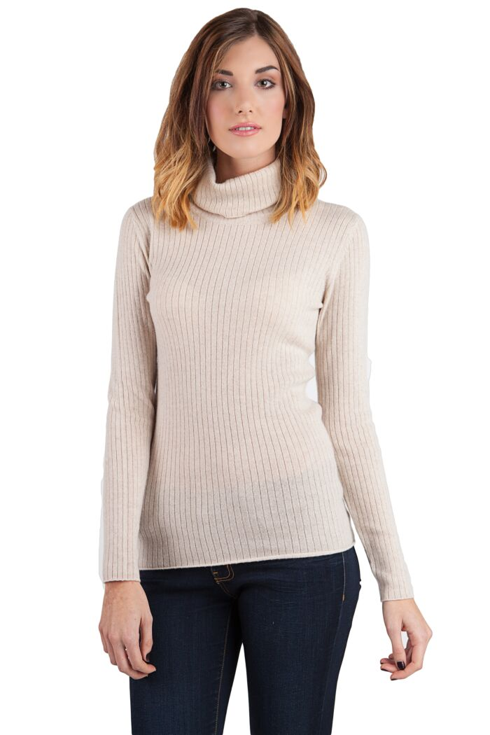 Oatmeal Cashmere Rib Turtleneck Sweater Front View