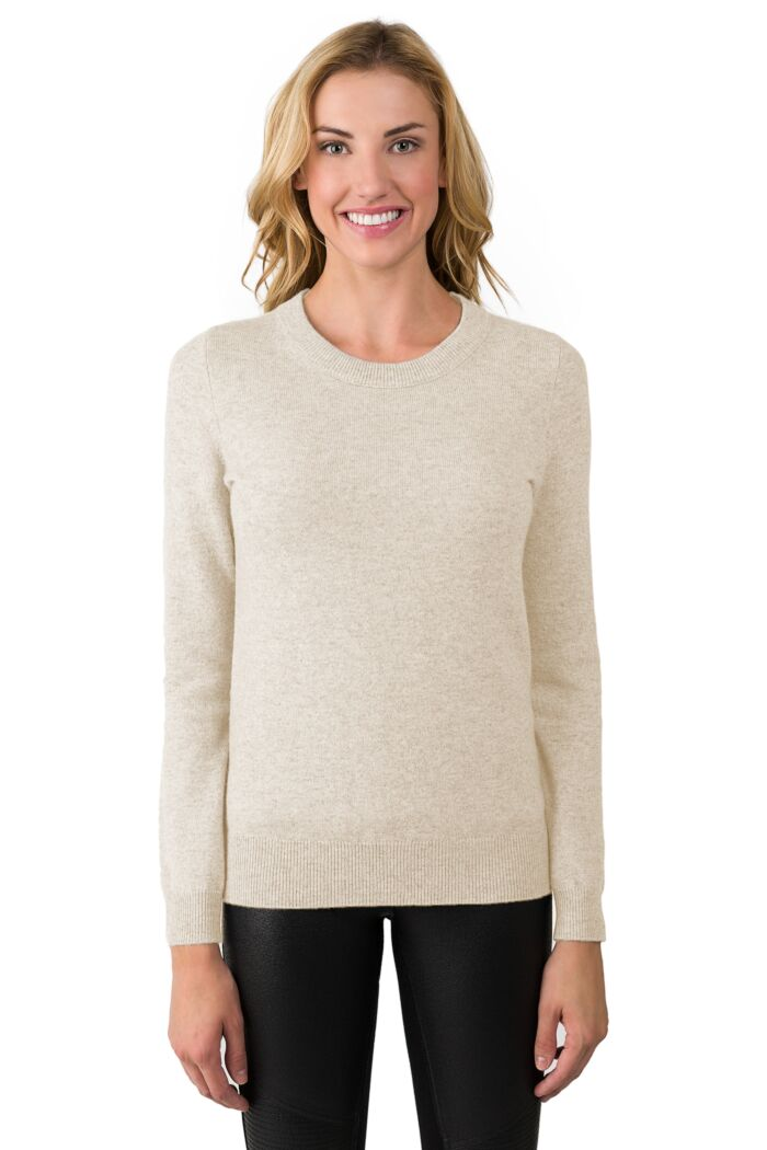 Oatmeal Cashmere Crewneck Sweater front view