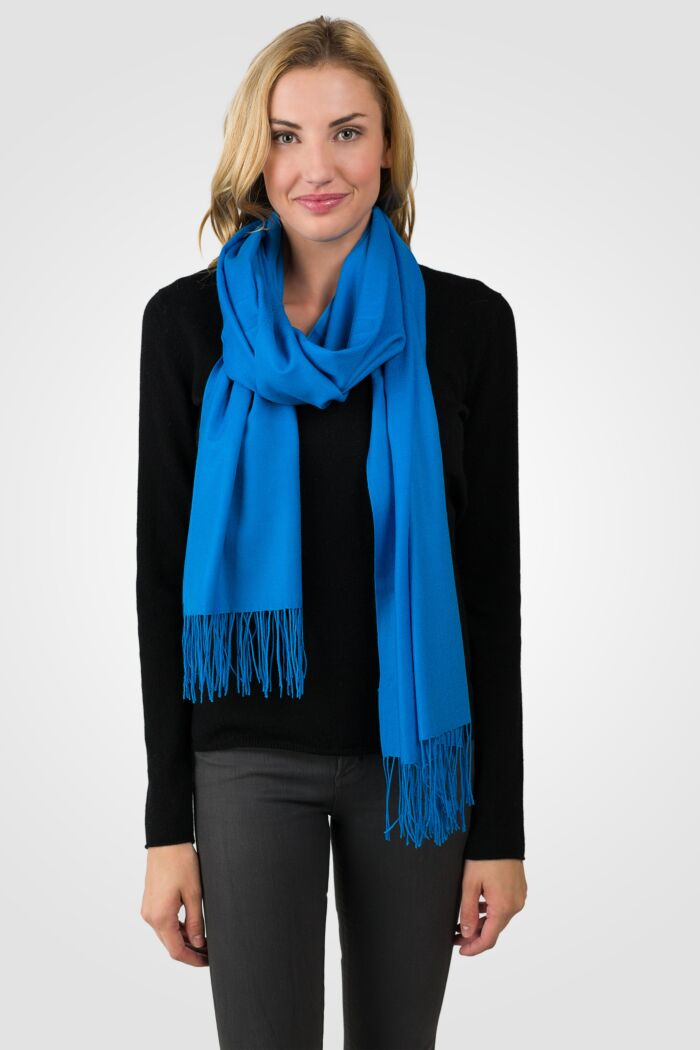 Ocean Blue Tissue Weight Wool Cashmere Wrap