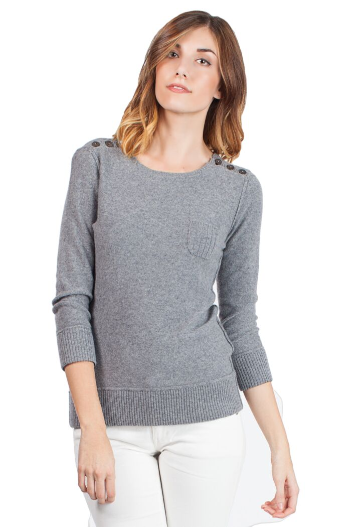 Grey Chloe Cashmere 3/4 sleeves Crewneck Sweater Front View