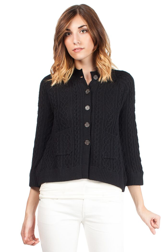 Black 4-ply Cashmere Cable-Knie Crop Cardigan Sweater Front View
