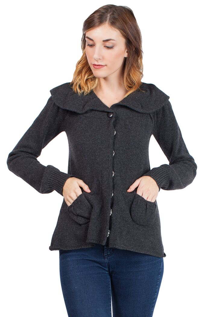 Charcoal Cashmere 4-ply Snap Cardigan Sweaters Front View