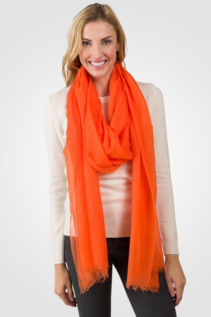 Orange Tissue Weight Air Cashmere Shawl Wrap